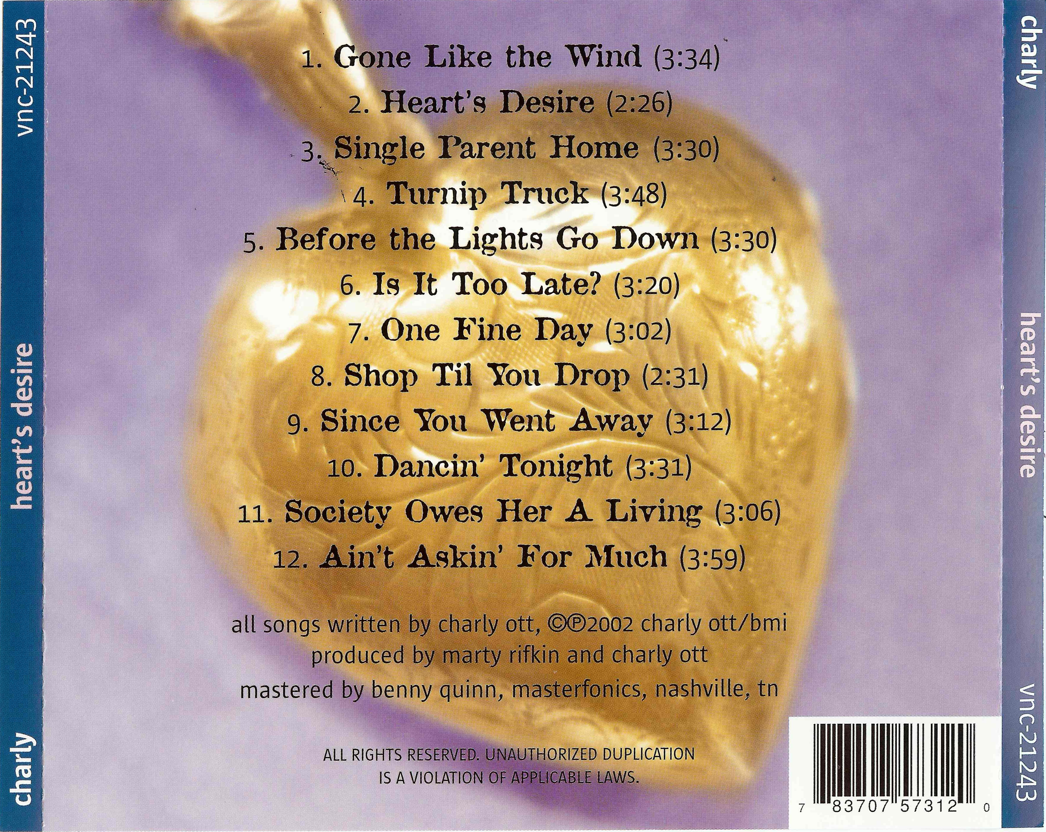 Back of Liner Song Listng